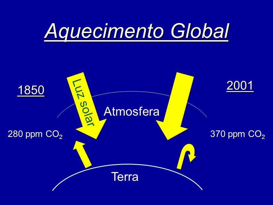 Aquecimento Global Atmosfera Terra 1850 2001 280 ppm CO 2 370 ppm CO 2 Luz solar