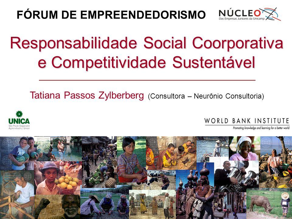 Responsabilidade Social Coorporativa e Competitividade Sustentável Tatiana Passos Zylberberg (Consultora – Neurônio Consultoria) FÓRUM DE EMPREENDEDOR