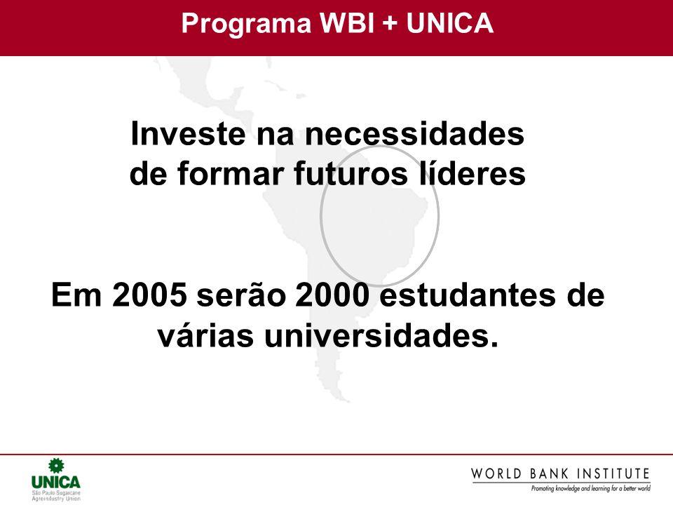 Investe na necessidades de formar futuros líderes Em 2005 serão 2000 estudantes de várias universidades. Programa WBI + UNICA