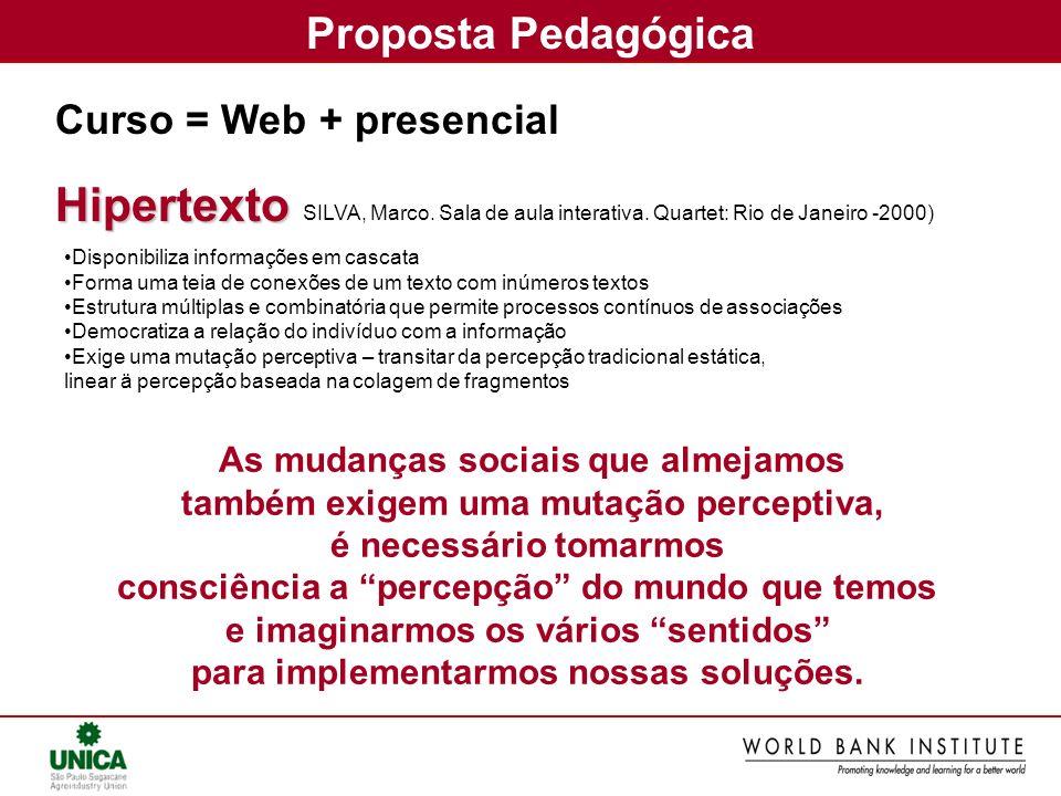 Proposta Pedagógica Curso = Web + presencialHipertexto As mudanças sociais que almejamos também exigem uma mutação perceptiva, é necessário tomarmos c
