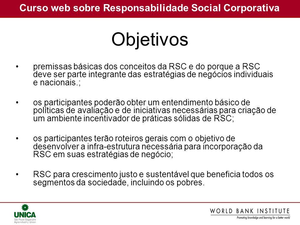 Curso web sobre Responsabilidade Social Corporativa premissas básicas dos conceitos da RSC e do porque a RSC deve ser parte integrante das estratégias