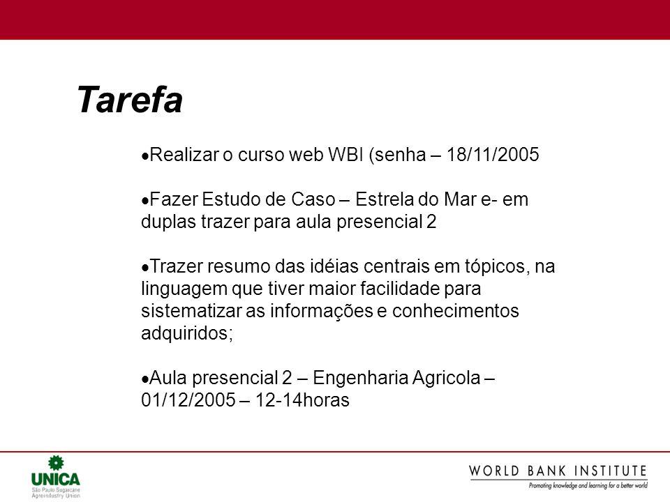 Tarefa Realizar o curso web WBI (senha – 18/11/2005 Fazer Estudo de Caso – Estrela do Mar e- em duplas trazer para aula presencial 2 Trazer resumo das