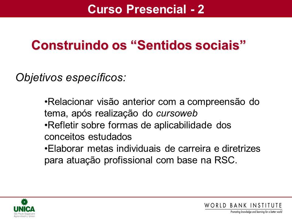Curso Presencial - 2 Construindo os Sentidos sociais Objetivos específicos: Relacionar visão anterior com a compreensão do tema, após realização do cu