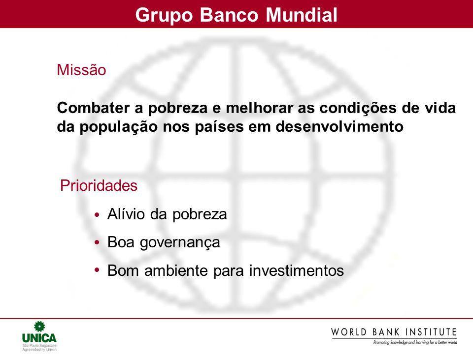 Grupo Banco Mundial Prioridades Alívio da pobreza Boa governança Bom ambiente para investimentos Missão Combater a pobreza e melhorar as condições de