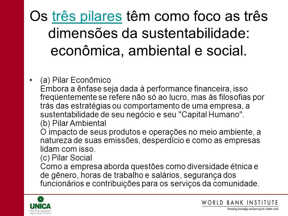 Os três pilares têm como foco as três dimensões da sustentabilidade: econômica, ambiental e social.três pilares (a) Pilar Econômico Embora a ênfase se