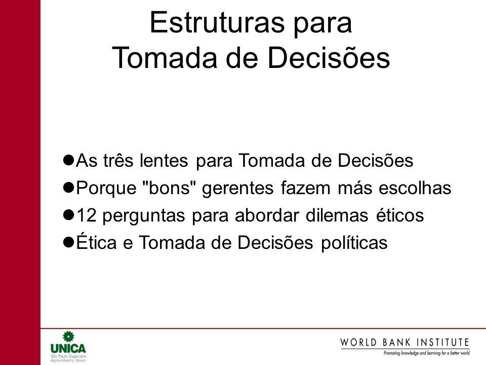 Estruturas para Tomada de Decisões As três lentes para Tomada de Decisões Porque