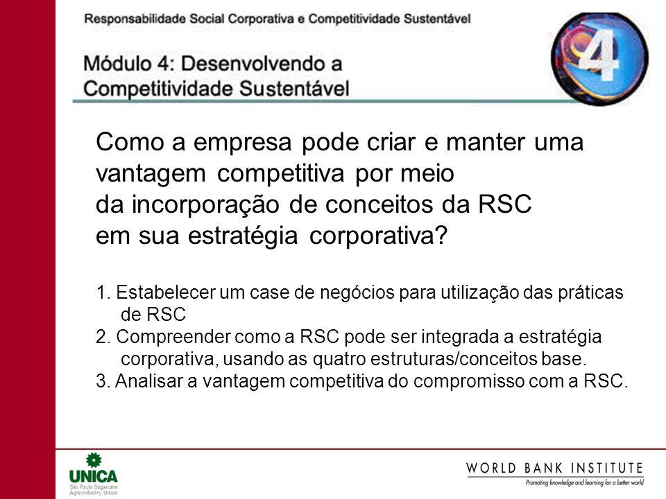 Como a empresa pode criar e manter uma vantagem competitiva por meio da incorporação de conceitos da RSC em sua estratégia corporativa? 1. Estabelecer