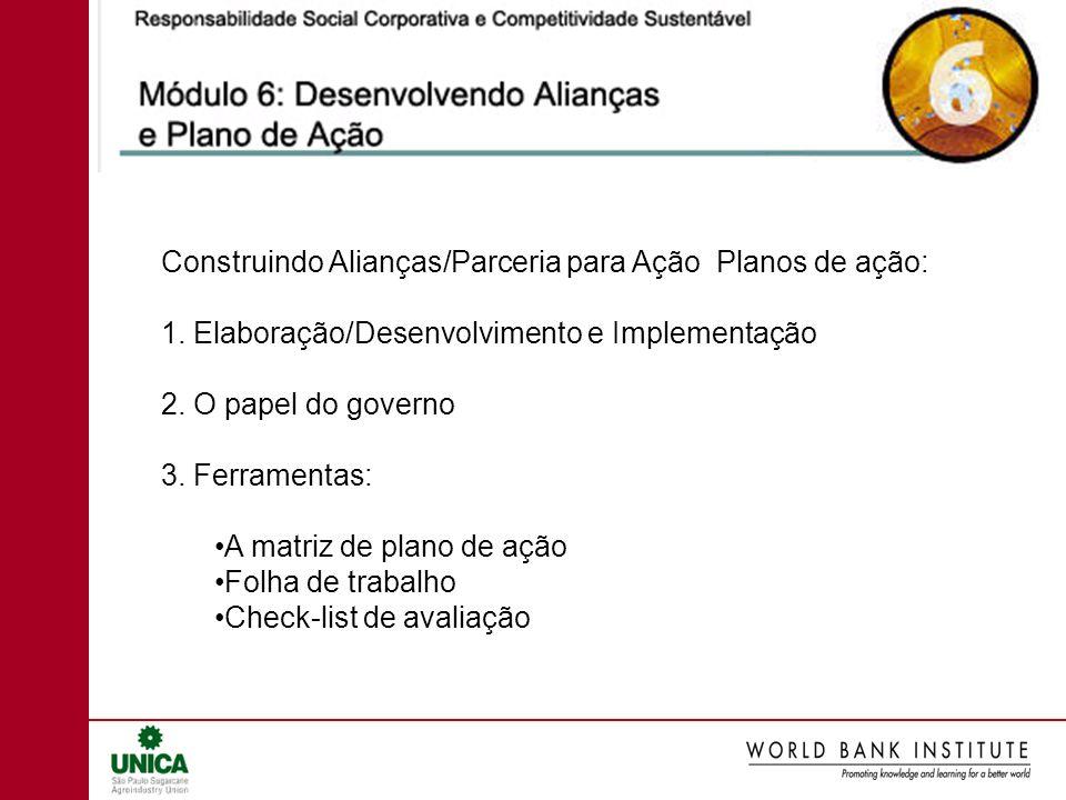 Construindo Alianças/Parceria para Ação Planos de ação: 1. Elaboração/Desenvolvimento e Implementação 2. O papel do governo 3. Ferramentas: A matriz d