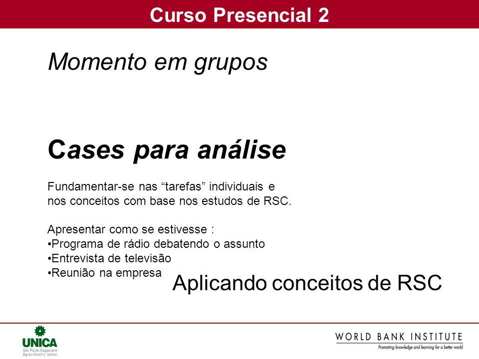 Curso Presencial 2 Momento em grupos Cases para análise Fundamentar-se nas tarefas individuais e nos conceitos com base nos estudos de RSC. Apresentar