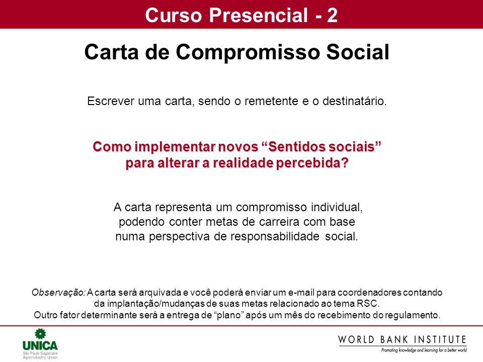 Curso Presencial - 2 Carta de Compromisso Social Escrever uma carta, sendo o remetente e o destinatário. Como implementar novos Sentidos sociais para