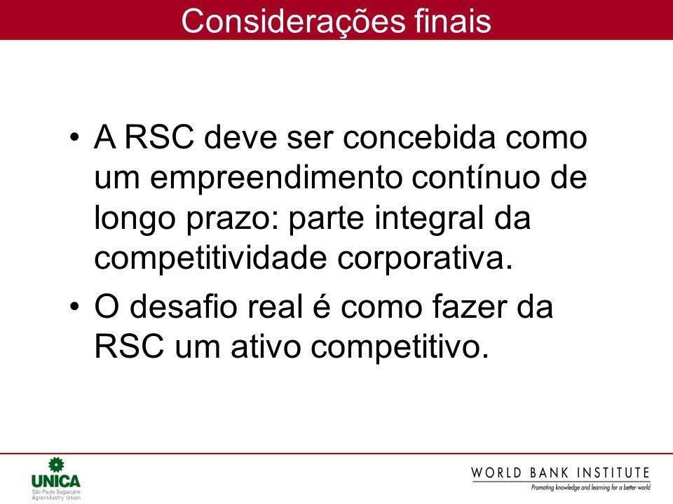Considerações finais A RSC deve ser concebida como um empreendimento contínuo de longo prazo: parte integral da competitividade corporativa. O desafio