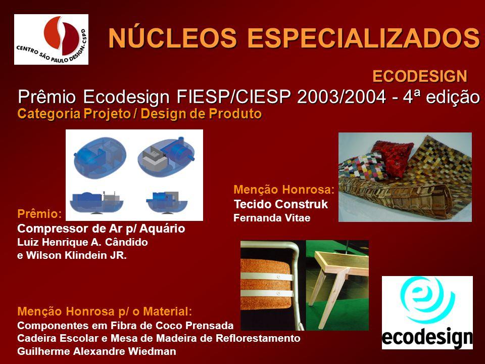 ECODESIGN NÚCLEOS ESPECIALIZADOS Prêmio Ecodesign FIESP/CIESP 2003/2004 - 4ª edição Categoria Projeto / Design de Produto Prêmio: Compressor de Ar p/
