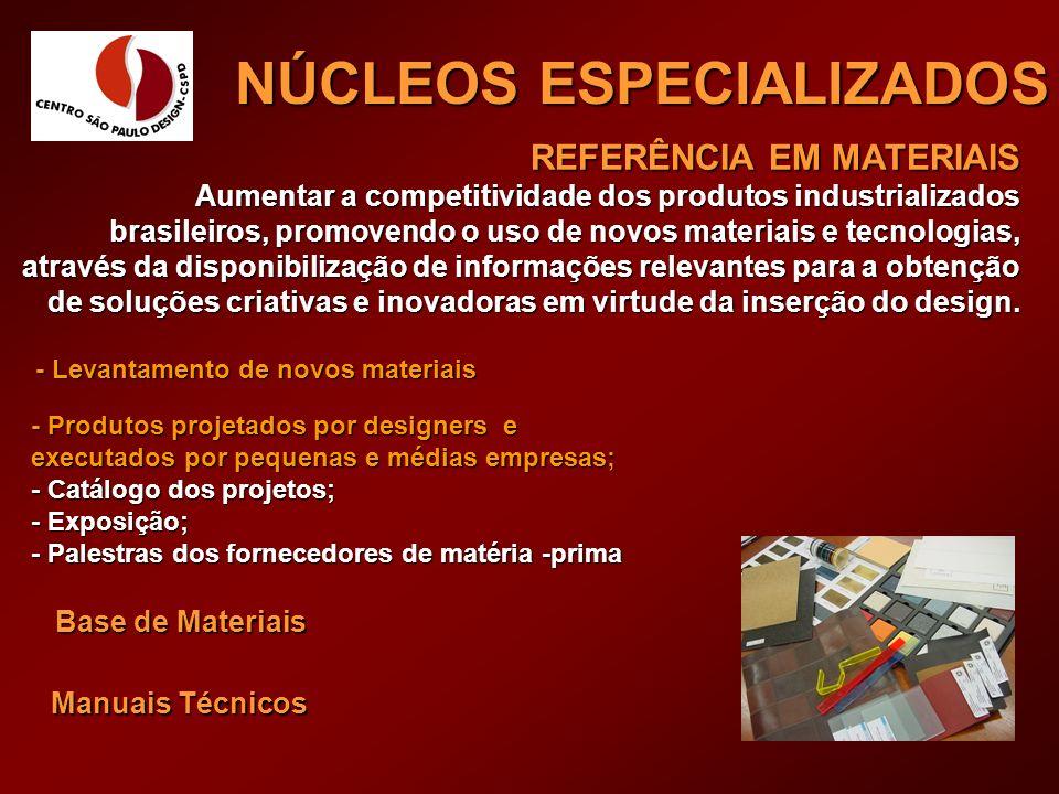 REFERÊNCIA EM MATERIAIS Aumentar a competitividade dos produtos industrializados brasileiros, promovendo o uso de novos materiais e tecnologias, atrav