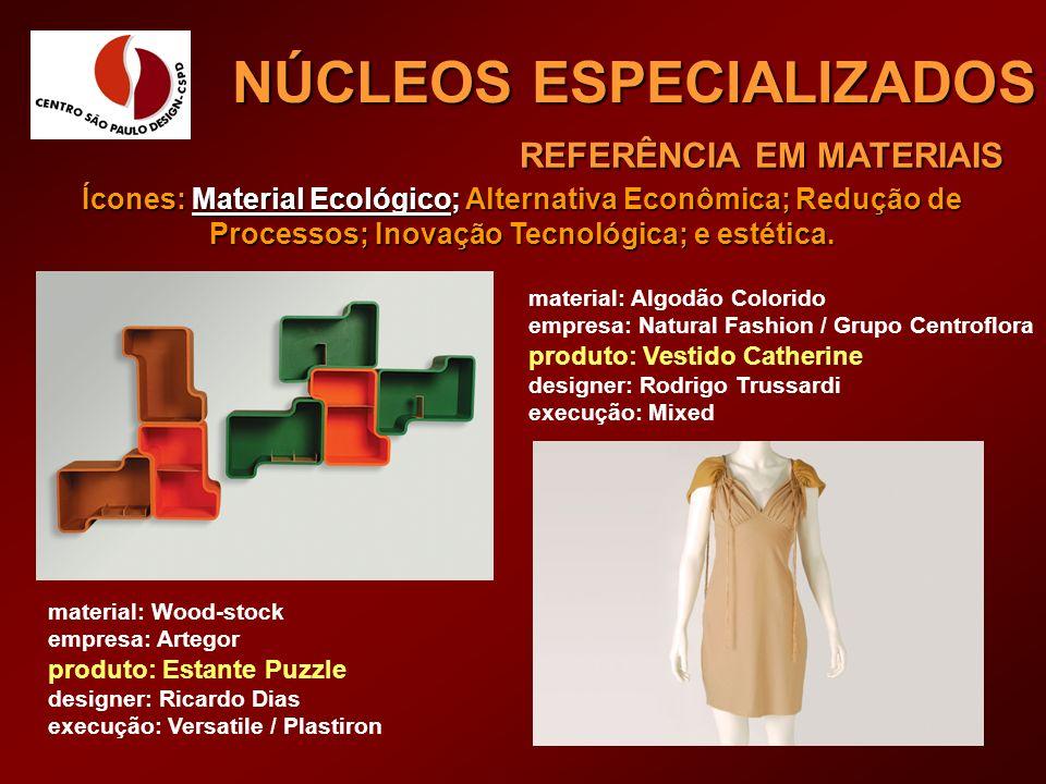 REFERÊNCIA EM MATERIAIS NÚCLEOS ESPECIALIZADOS material: Algodão Colorido empresa: Natural Fashion / Grupo Centroflora produto: Vestido Catherine desi
