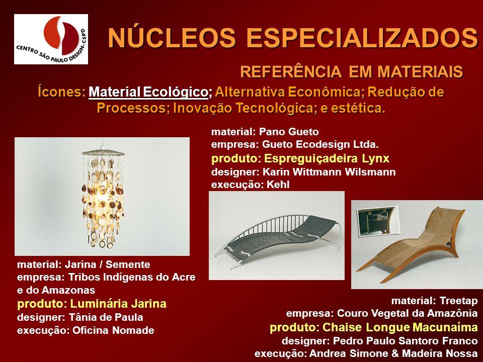 REFERÊNCIA EM MATERIAIS NÚCLEOS ESPECIALIZADOS material: Jarina / Semente empresa: Tribos Indígenas do Acre e do Amazonas produto: Luminária Jarina de