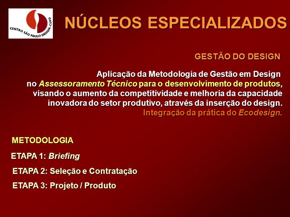 GESTÃO DO DESIGN Aplicação da Metodologia de Gestão em Design no Assessoramento Técnico para o desenvolvimento de produtos, visando o aumento da compe