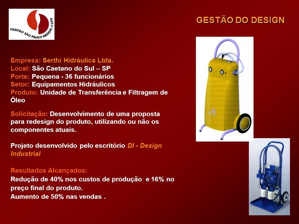 Empresa: Serthi Hidráulica Ltda. Local: São Caetano do Sul – SP Porte: Pequena - 36 funcionários Setor: Equipamentos Hidráulicos Produto: Unidade de T