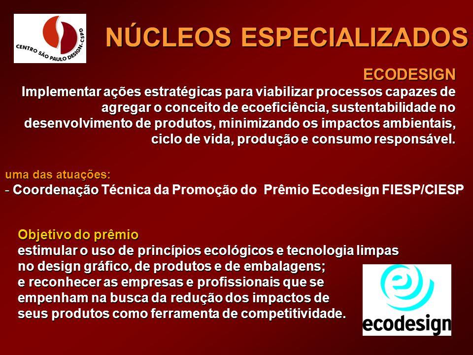 REFERÊNCIA EM MATERIAIS NÚCLEOS ESPECIALIZADOS Ícones: Material Ecológico; Alternativa Econômica; Redução de Processos; Inovação Tecnológica; e estética.