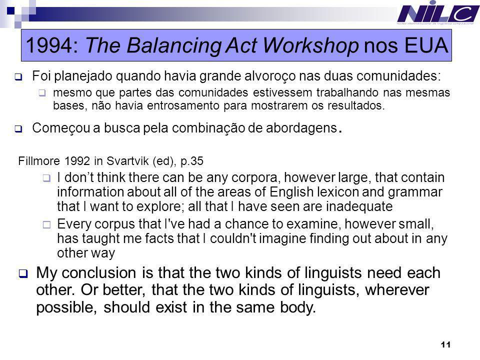11 1994: The Balancing Act Workshop nos EUA Foi planejado quando havia grande alvoroço nas duas comunidades: mesmo que partes das comunidades estivess