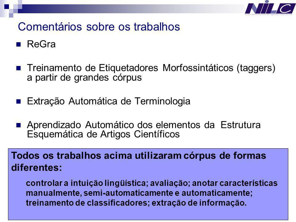 17 ReGra Treinamento de Etiquetadores Morfossintáticos (taggers) a partir de grandes córpus Extração Automática de Terminologia Aprendizado Automático