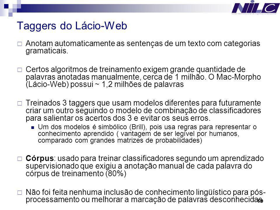 19 Taggers do Lácio-Web Anotam automaticamente as sentenças de um texto com categorias gramaticais. Certos algoritmos de treinamento exigem grande qua
