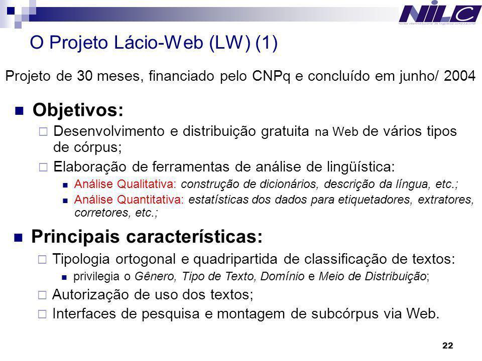 22 O Projeto Lácio-Web (LW) (1) Objetivos: Desenvolvimento e distribuição gratuita na Web de vários tipos de córpus; Elaboração de ferramentas de anál