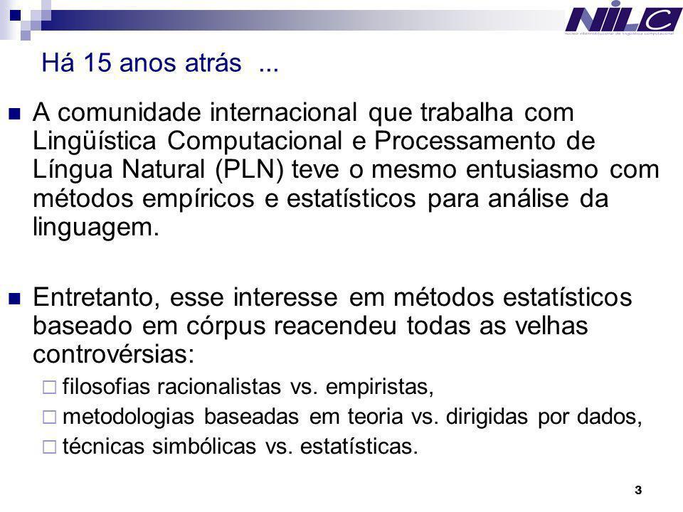 3 Há 15 anos atrás... A comunidade internacional que trabalha com Lingüística Computacional e Processamento de Língua Natural (PLN) teve o mesmo entus