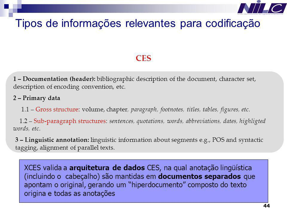 44 Tipos de informações relevantes para codificação 1 – Documentation (header): bibliographic description of the document, character set, description