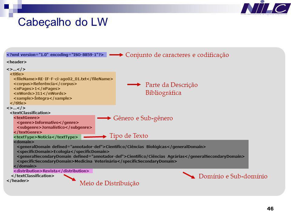 46 Cabeçalho de classificação em XML: Informações Tipológicas: Supergênero, Gênero, Subgênero, Tipo de Texto, Meio de Distribuição, Domínio, Subdomíni