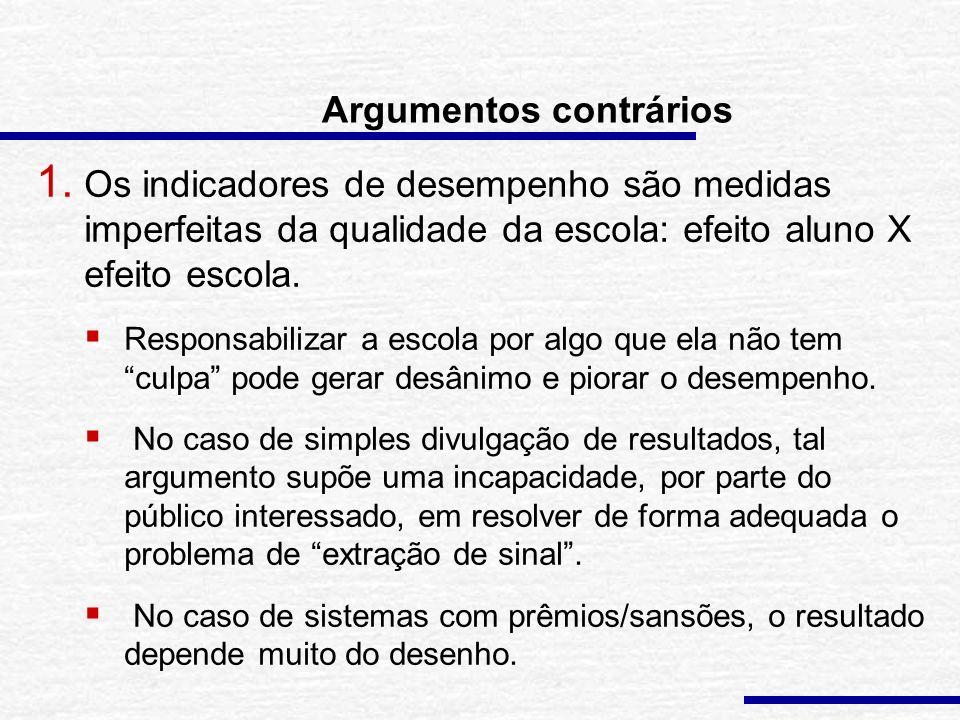 Argumentos favoráveis 2. A divulgação dos resultados pode desfazer certas percepções equivocadas sobre o desempenho da escola e mobilizar o corpo de p