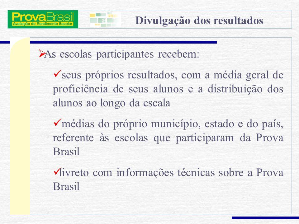 A Prova Brasil Experiência Nova em termos de amplitude nacional: Prova Brasil (ANRESC) (existem experiências similares nos sistemas) amplia o escopo d