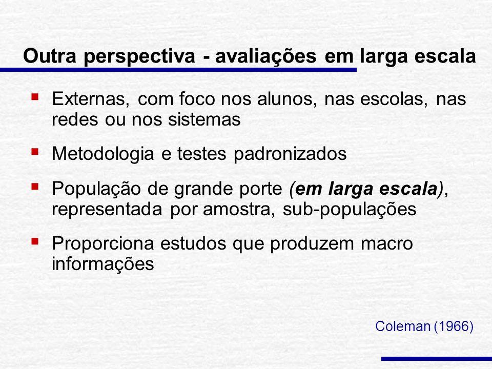 Outra perspectiva - avaliações em larga escala Externas, com foco nos alunos, nas escolas, nas redes ou nos sistemas Metodologia e testes padronizados População de grande porte (em larga escala), representada por amostra, sub-populações Proporciona estudos que produzem macro informações Coleman (1966)