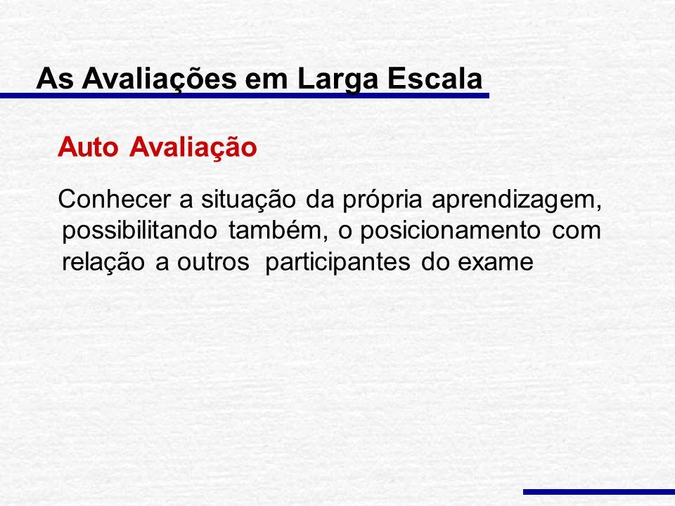 As Avaliações em Larga Escala Brasil: especialmente nas décadas de 90 e atual – proliferação de avaliações em larga escala. Vários tipos de avaliação