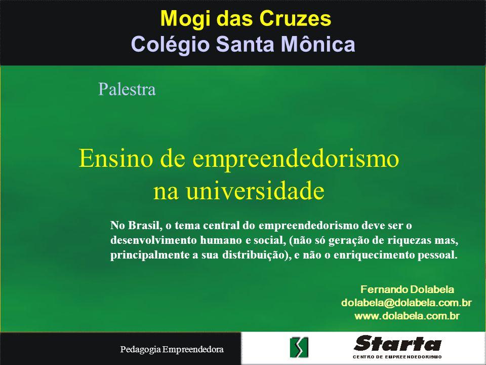Pedagogia Empreendedora Mogi das Cruzes Núcleo de Jovens Empreendedores No Brasil, o tema central do empreendedorismo deve ser o desenvolvimento humano e social, (não só geração de riquezas mas, principalmente a sua distribuição), e não o enriquecimento pessoal.