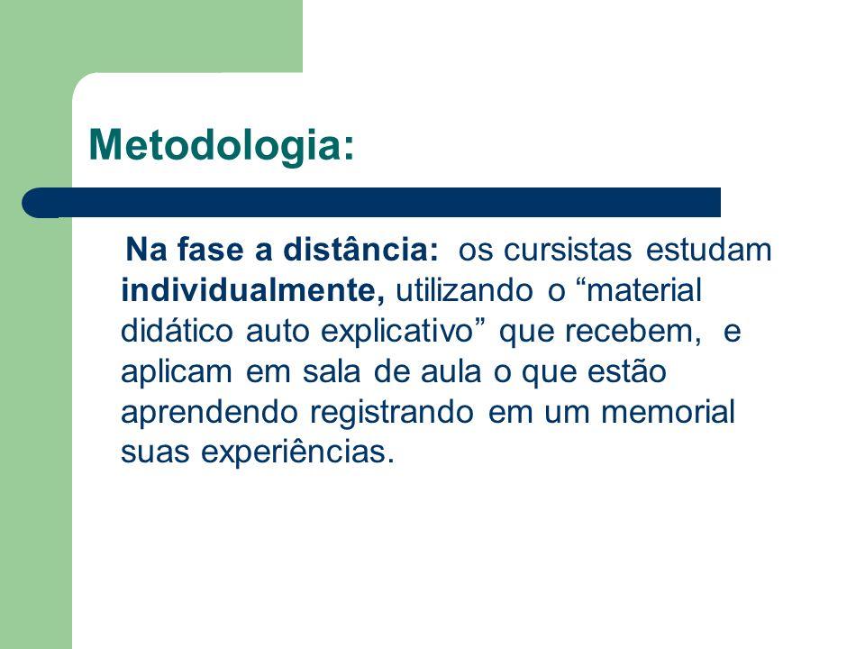 Metodologia: Na fase a distância: os cursistas estudam individualmente, utilizando o material didático auto explicativo que recebem, e aplicam em sala