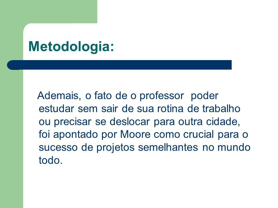 Metodologia: Ademais, o fato de o professor poder estudar sem sair de sua rotina de trabalho ou precisar se deslocar para outra cidade, foi apontado p