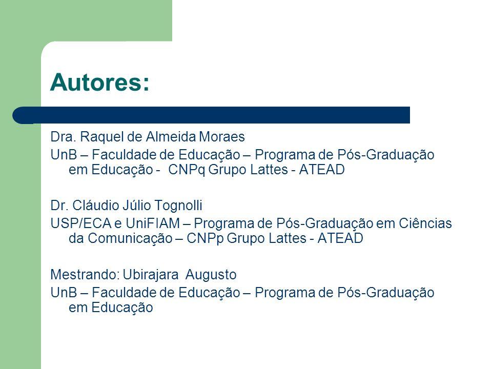 Autores: Dra. Raquel de Almeida Moraes UnB – Faculdade de Educação – Programa de Pós-Graduação em Educação - CNPq Grupo Lattes - ATEAD Dr. Cláudio Júl