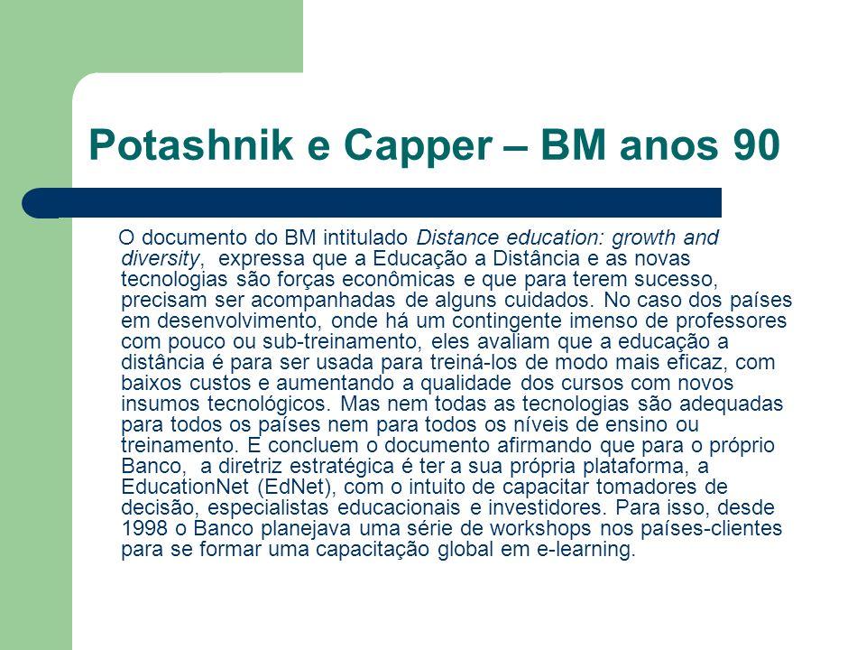 Potashnik e Capper – BM anos 90 O documento do BM intitulado Distance education: growth and diversity, expressa que a Educação a Distância e as novas