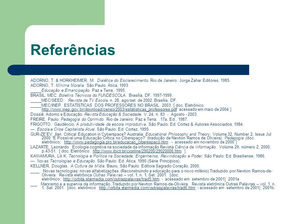 Referências ADORNO, T. & HORKHEIMER, M. Dialética do Esclarecimento. Rio de Janeiro: Jorge Zahar Editores, 1985. ADORNO, T. Mínima Moralia. São Paulo: