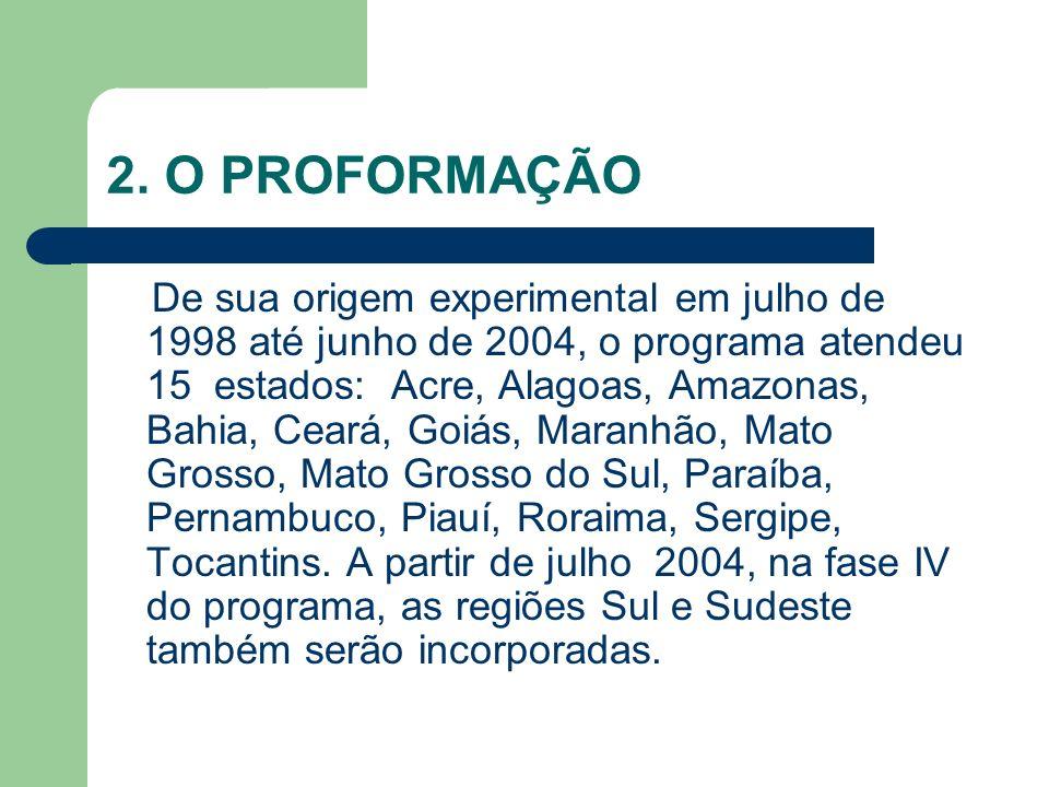 2. O PROFORMAÇÃO De sua origem experimental em julho de 1998 até junho de 2004, o programa atendeu 15 estados: Acre, Alagoas, Amazonas, Bahia, Ceará,