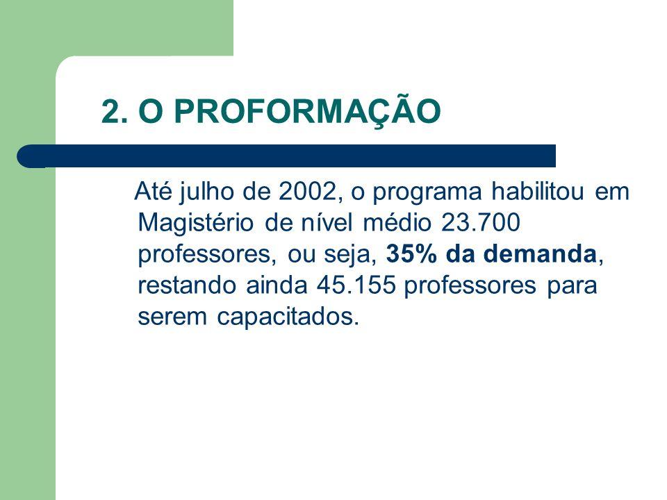 2. O PROFORMAÇÃO Até julho de 2002, o programa habilitou em Magistério de nível médio 23.700 professores, ou seja, 35% da demanda, restando ainda 45.1