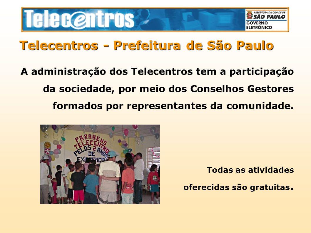 A administração dos Telecentros tem a participação da sociedade, por meio dos Conselhos Gestores formados por representantes da comunidade. Telecentro