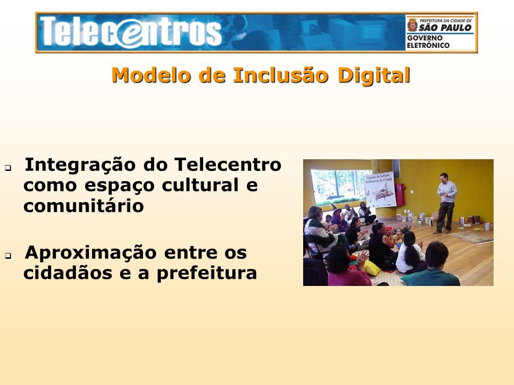 Integração do Telecentro como espaço cultural e comunitário Aproximação entre os cidadãos e a prefeitura Modelo de Inclusão Digital