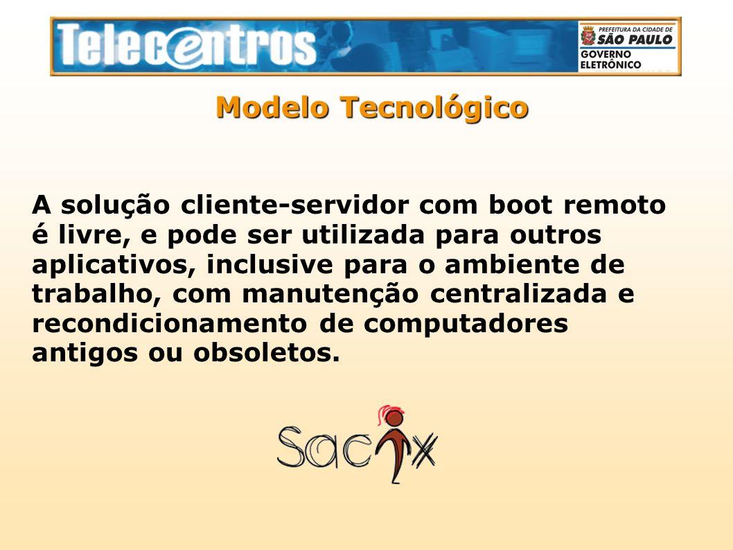 A solução cliente-servidor com boot remoto é livre, e pode ser utilizada para outros aplicativos, inclusive para o ambiente de trabalho, com manutençã