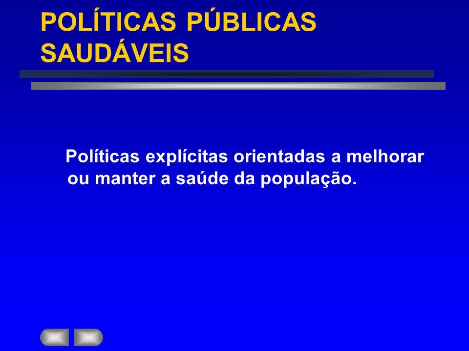 PROMOÇÃO DA SAÚDE: ÁREAS DE AÇÃO FORMULAÇÃO DE POLÍTICAS E LEGISLAÇOES SAUDÁVEIS.