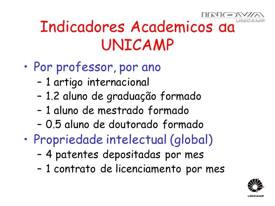 Indicadores Academicos da UNICAMP Por professor, por ano –1 artigo internacional –1.2 aluno de graduação formado –1 aluno de mestrado formado –0.5 alu