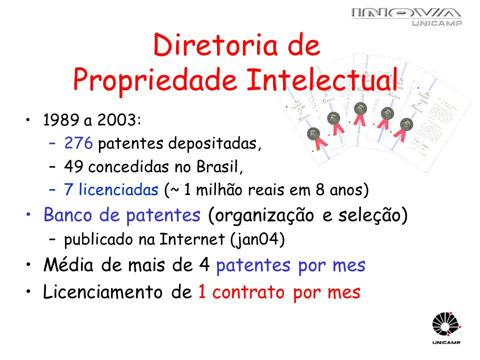Diretoria de Propriedade Intelectual 1989 a 2003: –276 patentes depositadas, –49 concedidas no Brasil, –7 licenciadas (~ 1 milhão reais em 8 anos) Ban