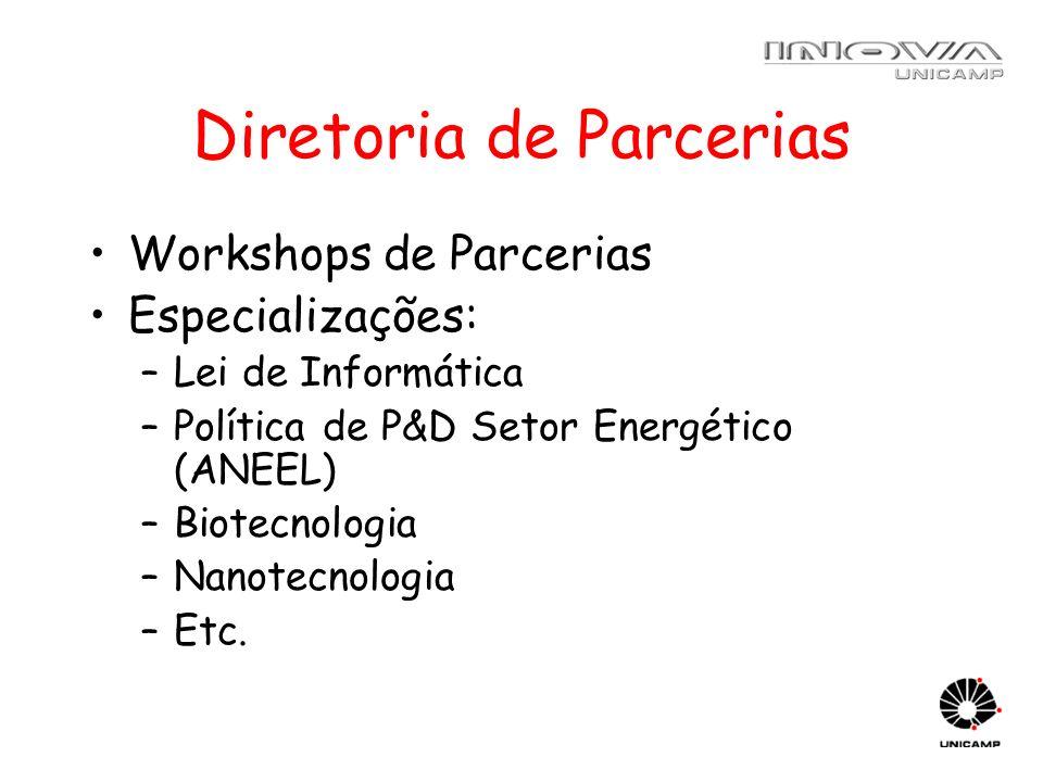Diretoria de Parcerias Workshops de Parcerias Especializações: –Lei de Informática –Política de P&D Setor Energético (ANEEL) –Biotecnologia –Nanotecno