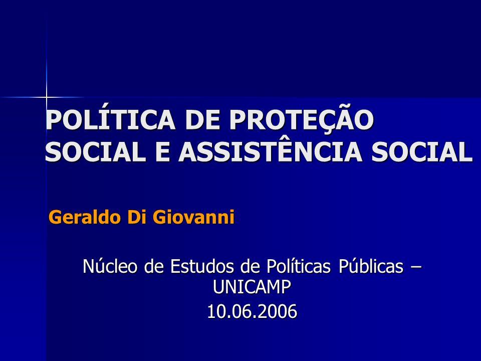 POLÍTICA DE PROTEÇÃO SOCIAL E ASSISTÊNCIA SOCIAL Geraldo Di Giovanni Núcleo de Estudos de Políticas Públicas – UNICAMP 10.06.2006