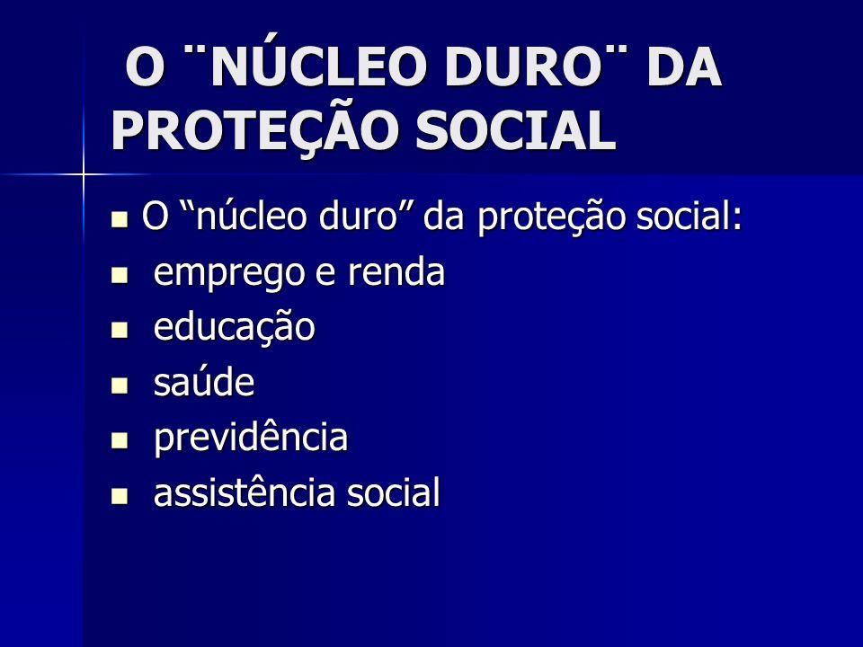 O ¨NÚCLEO DURO¨ DA PROTEÇÃO SOCIAL O ¨NÚCLEO DURO¨ DA PROTEÇÃO SOCIAL O núcleo duro da proteção social: O núcleo duro da proteção social: emprego e re
